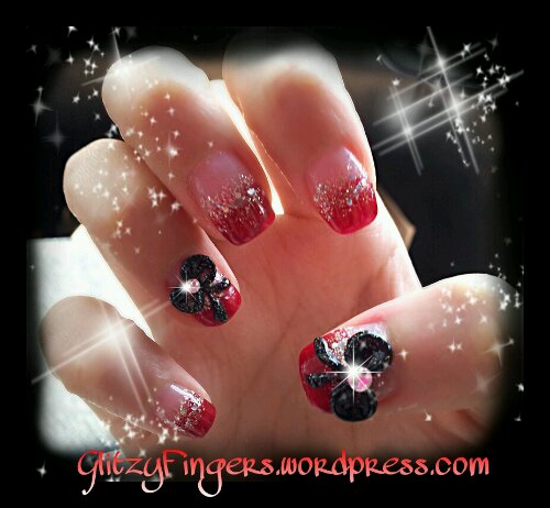 Gelish + Red + Nails + Ribbons + Glittered
