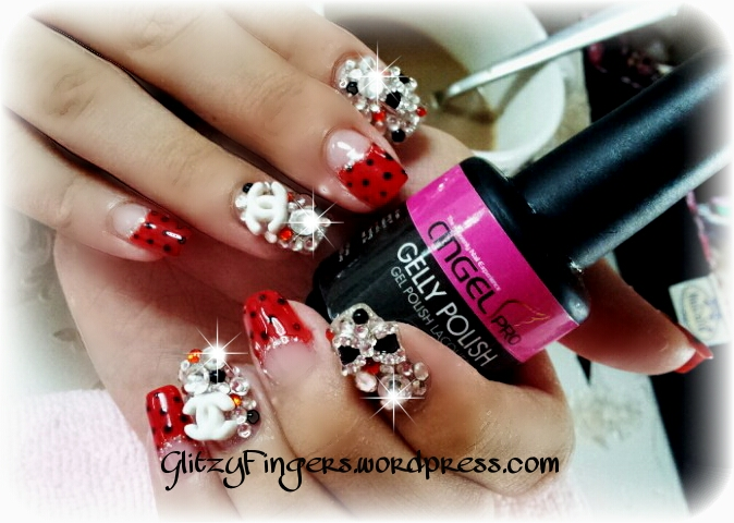 Glitzy Fingers : Christmas Nails + NailArt + angelpro gelly + glitter + charms + bling + chanel + Gelish + extensions +  Xmas + 3D Nails + SG Nails