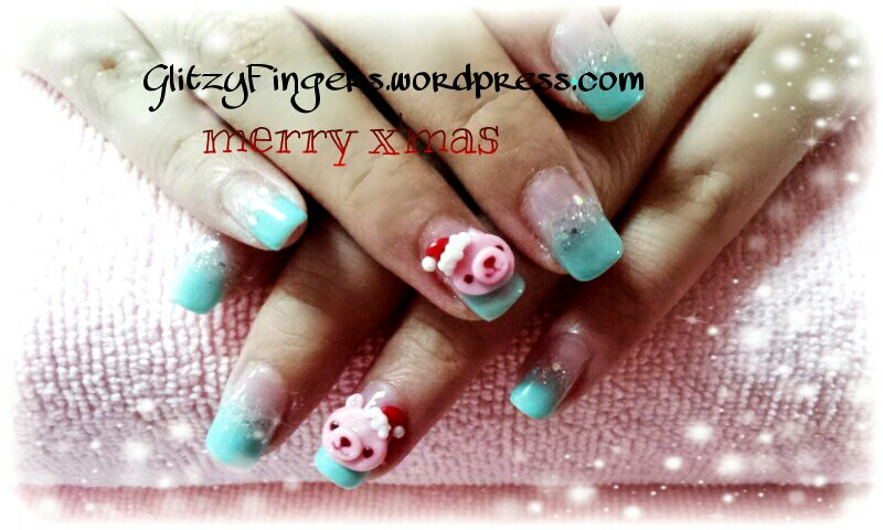Glitzy Fingers : Christmas Nails + NailArt + santa hat + glitter + bear + Snow flakes + Gelish + extensions +  Xmas + 3D Nails + SG Nails