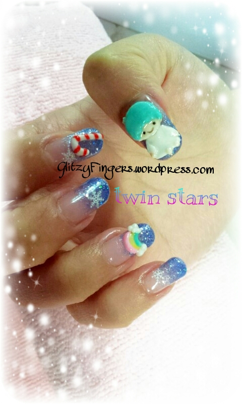 Glitzy Fingers : Christmas Nails + NailArt + santa hat + glitter + Candy Cane + Little Twin Stars + Sanrio + kiki + lala + Snow flakes + Gelish + extensions +  Xmas + 3D Nails + SG Nails