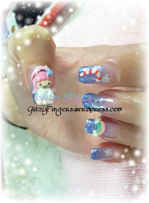 Glitzy Fingers : Christmas Nails + NailArt + Little Twin Stars + kiki + lala + Candy Cane + Rainbow + Clouds + Gelish + extensions +  Xmas + 3D Nails + SG Nails