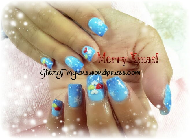 Glitzy Fingers : Christmas Nails + NailArt + hearts + Simple + Snow flakes + Gelish + extensions +  Xmas + 3D Nails + SG Nails