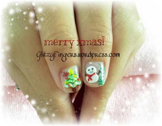 Glitzy Fingers : Christmas Nails + NailArt + tree + Snowman + Snow flakes + Gelish + extensions +  Xmas + 3D Nails + SG Nails