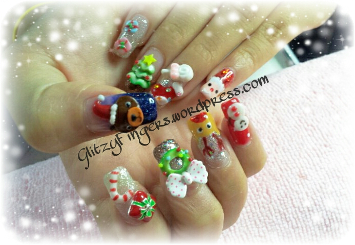 Glitzy Fingers : Christmas Nails + NailArt + Snowman + Santa + Rudolph + Candy Cane + Tree +  Xmas + 3D Nails + SG Nails
