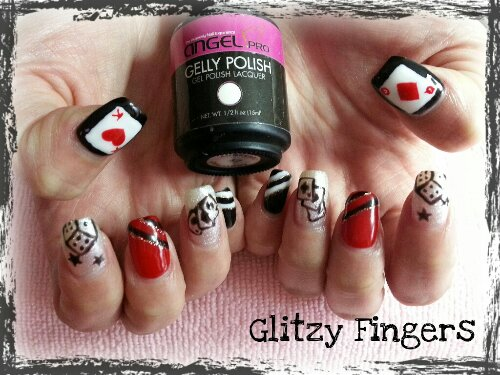 Glitzy Fingers : Glitter + Red +  AngelPro + Poker + Cards + Dice + Stars + CNY + Cute + Nails + Gel + Gelish + Bling