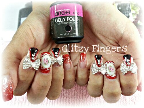 Glitzy Fingers : Glitter + Red + Floral + Lace + AngelPro + Ribbons + CNY + Cute + Nails + Gel + Gelish + Bling