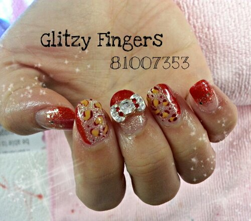Glitzy Fingers : Glitter + Red + Leopard Prints + Ribbons + Minnie + CNY + Cute + Nails + Gel + Gelish + Bling