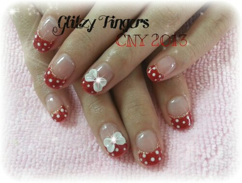 Glitzy Fingers : Glitter + Red + Polka + French + Ribbons + Minnie + CNY + Cute + Nails + Gel + Gelish + Bling