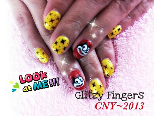 Glitzy Fingers : Glitter + Red + Felix the cat + Cartoon + Yellow + CNY + Cute + Nails + Gel + Gelish + Bling
