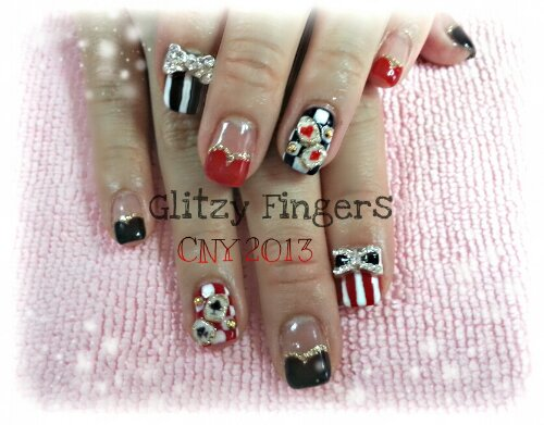 Glitzy Fingers : Glitter + Poker + Cards + Stripes + Ribbons + CNY + Cute + Nails + Gel + Gelish + Bling