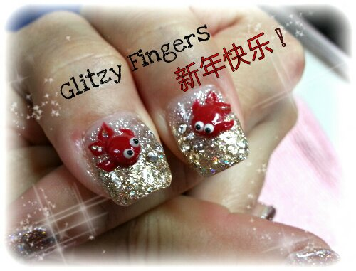 Glitzy Fingers : Glitter + Fish + CNY + Cute + Nails + Gel + Gelish + Bling