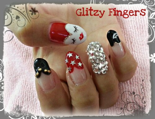 Glitzy Fingers : Mask + Stars + Studs + Lips + Face + Heart + Pointed + Nails + Gel + Gelish + Bling