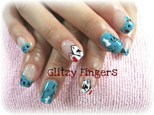 nails / nailart / alice in wonderland / poker / gel / gellish / gelish / manicure / cute / pretty