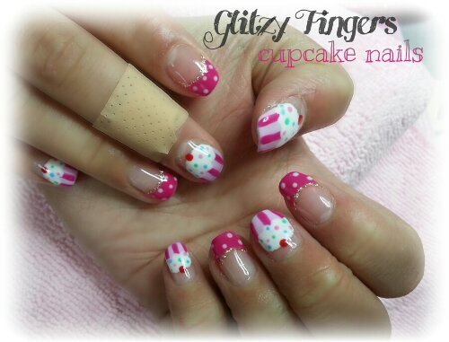 nails / nailart / manicure / pink / polkadots / french / cupcake / pretty / cute / sweet / gel / gelish / gellish