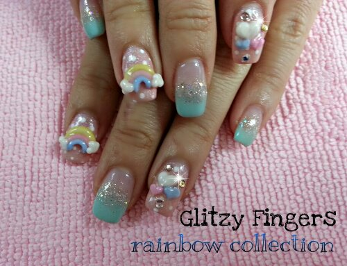 nails / nailart / rainbow / colourful / hearts / love / glitter / mint green / pink / polish / manicure / gel / gelish / gellish