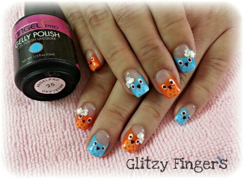 nails / nailart / owls / angelpro / rainbow / colourful / hearts / love / glitter / orange / blue / embossed / ribbons / owls / polish / manicure / gel / gelish / gellish