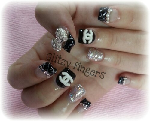 nails / nailart / black / french / crystals / charms / glitter / chanel inspired / embossed / ribbons / polish / manicure / gel / gelish / gellish