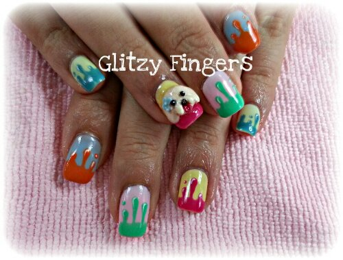 nails / nailart / charms / glitter / dog / poodle / embossed / ribbons / polish / manicure / gel / colourful / neon / gelish / gellish