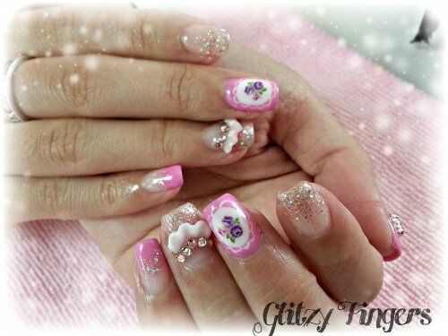 nails / nailart / pink / flowers / floral / sweet / crystals / charms / glitter / lace / handdrawn / embossed / ribbons / polish / manicure / gel / gelish / gellish