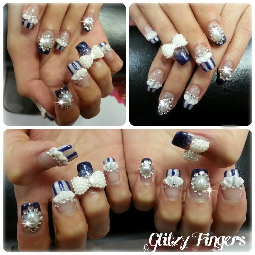 nails / nailart / stripes / blue / crystals / charms / glitter / pearls / embossed / ribbons / polish / manicure / gel / gelish / gellish