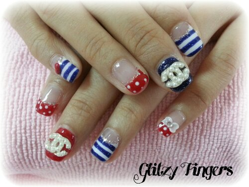 Glitzy Fingers : nautical nails + chanel inspired + french + polka dots + stripes + blue + red + embossed art + nailart + manicure + gelish + gel polish + singapore