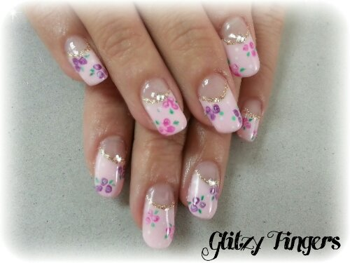 Glitzy Fingers : sweet nails + pretty + liz lisa + high french + pink + floral + embossed art + nailart + manicure + gelish + gel polish + singapore