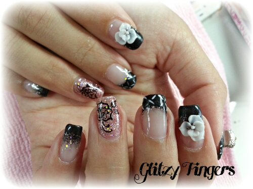 Glitzy Fingers : sweet nails + glitter + 3d nail art + acrylic + black + pretty + liz lisa + high french + pink + floral + embossed art + nailart + manicure + gelish + gel polish + singapore