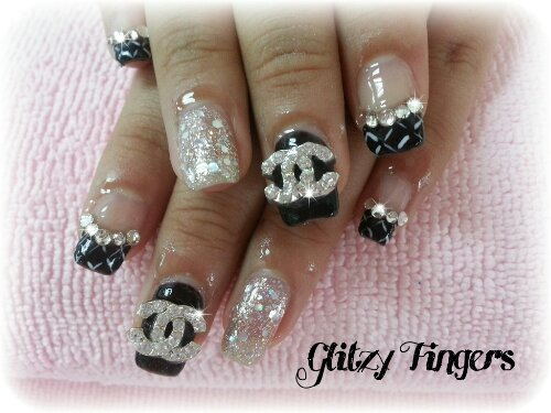 Glitzy Fingers : sweet nails + chanel inspired + glitter + 3d nail art + acrylic + black + pretty + liz lisa + high french +  embossed art + nailart + manicure + gelish + gel polish + singapore