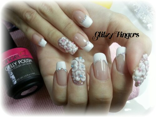 Glitzy FIngers : Nails + SGnails + gelnails + gelish + naildesigns + shanails + pretty + glitter + white + 3dnailart + embossed + acrylic + bridalnails + wedding nails + floral + french