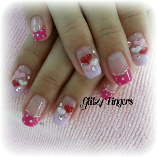 Glitzy FIngers : Nails + SGnails + gelnails + gelish + naildesigns + shanails + pretty + glitter + red + 3dnailart + hearts + jelly + embossed + acrylic + manicure + polkadots + french