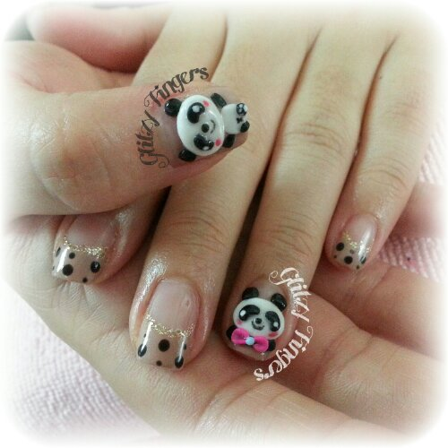 Glitzy FIngers : Nails + SGnails + gelnails + gelish + naildesigns + shanails + pretty + glitter + red + 3dnailart + panda + cute + polkadots + embossed + acrylic