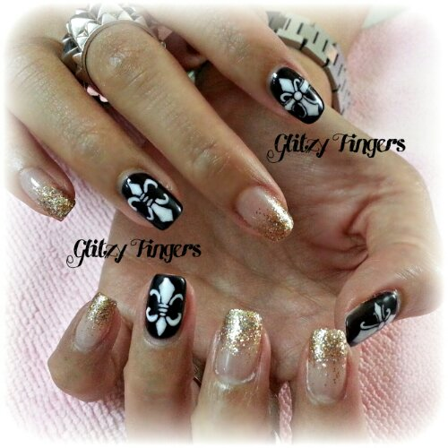 Glitzy Fingers : Chrome Hearts + Gold + Glitter + Nailart + Singapore Nails + Nail Designs + Sg nails + nail artist + gelish + gelnails + extensions + manicure + pretty nails + rock