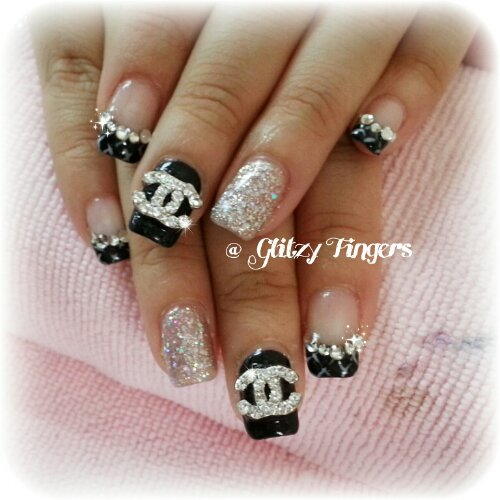 Glitzy Fingers : Chrome Hearts + Gold + Glitter + Nailart + Singapore Nails + Nail Designs + Sg nails + nail artist + gelish + gelnails + extensions + manicure + pretty nails + rock + embossed + 3d nailart + acrylic + marbling + crystals + studs + monochrome + ribbons + patterened + chanel inspired + french