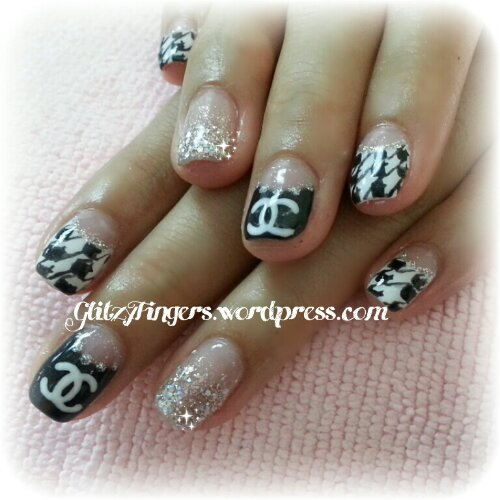 Glitzy Fingers : Chrome Hearts + Gold + Glitter + Nailart + Singapore Nails + Nail Designs + Sg nails + nail artist + gelish + gelnails + extensions + manicure + pretty nails + rock + embossed + 3d nailart + acrylic + marbling + crystals + studs + monochrome + ribbons + pattern + houndstooth + chanel inspired