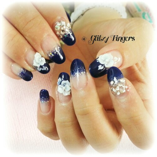 Glitzy Fingers : Daisies + Heart Tips + nail designs + sg nails + gelish + pretty nails + floral + glitter + cute + manicure + royal blue + embossed + 3d + acrylic + gel + extensions