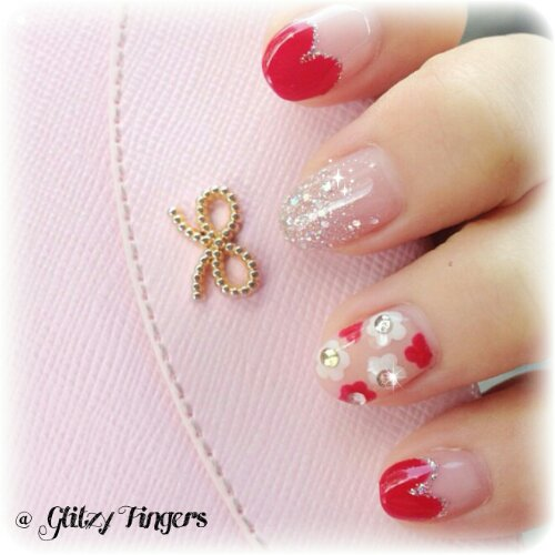 Glitzy Fingers : Daisies + Heart Tips + nail designs + sg nails + gelish + pretty nails + floral + glitter + cute + manicure + red + gel + extensions
