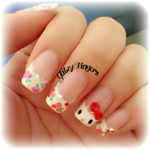 nail art + gel nails + gelish + manicure + pretty + nail designs + sg nails + singapore + paddle pop + colourful + hello kitty + floral + sanrio