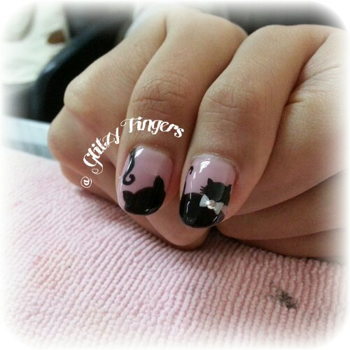 nail art + gel nails + gelish + manicure + pretty + nail designs + sg nails + singapore + kitty + meow + cat