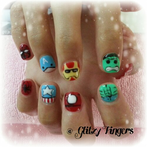 nail art + gel nails + gelish + manicure + pretty + nail designs + sg nails + singapore + paddle pop + colourful + avengers nails + hulk + captain america