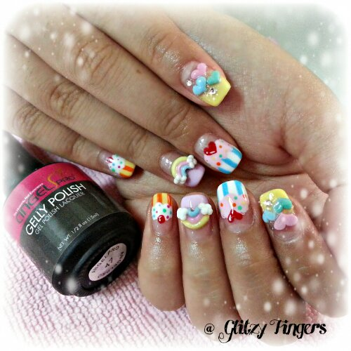 nail art + gel nails + gelish + manicure + pretty + nail designs + sg nails + singapore + paddle pop + colourful + cupcake + rainbow + 3d nailart + embossed + acrylic