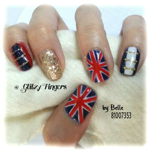 nail art + gel nails + gelish + manicure + pretty + nail designs + sg nails + singapore + british + britain flag