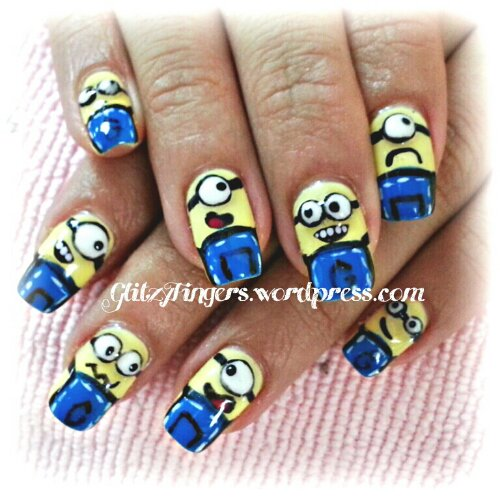 nail art + gel nails + gelish + manicure + pretty + nail designs + cute + minion + despicable me + cartoon