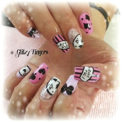 prettypink + pinknails + gelishart + nailart + sg nails + stripenails +  ribbonnails + hand drawn + pinklovers + sparkly nails + poker card + nail styles