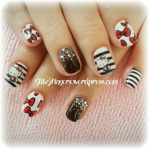 Nail designs glitzy fingers nail art hello kitty cat nails cute nails gelish nail artsy prinsesfo Choice Image