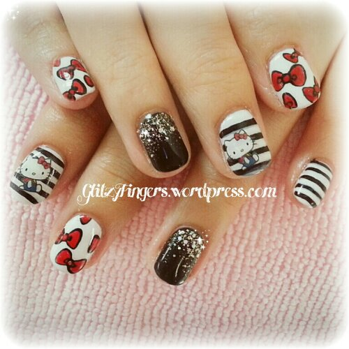 Nail Art + Hello Kitty + Cat Nails + Cute Nails + Gelish Nail + Artsy Nail + Nail Design + Sg Nails + Manicure + Gelish Gallery + Bling Nails + Shiny Nails + Stripe Nails + Sparkly Nail + Lovely Nail +  Kitty art + Sanrio Nail + Attractive Nails +
