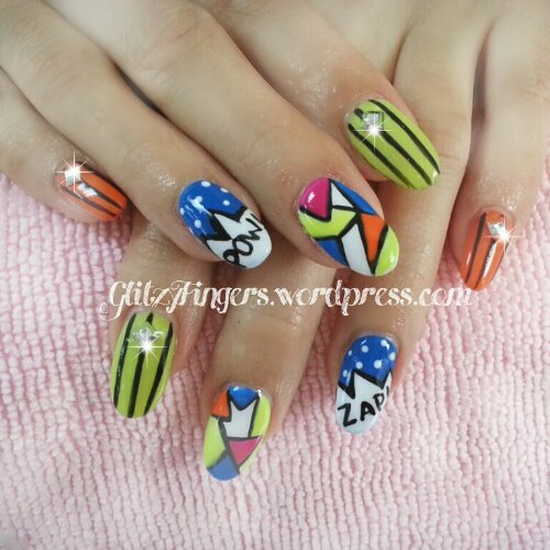 Nail Art + Manicure + Nail Design + Singapore Nails + Nail Love + Gel Nail + Pow Nails + Zap Nails + Stripe Nails + Geometry Nails + Lovely Nails + Beautiful Nails + Nail Gallery + Pop Art Nails + Stud Nails + Comical Nails + Pop Art + Colorful Nails +  Shiny Nails