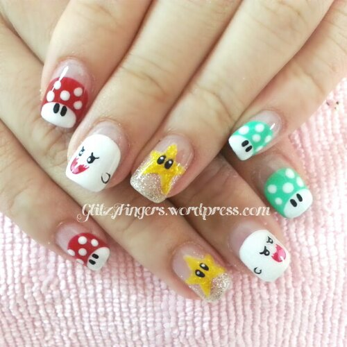 Pretty Nails + Manicure + Cartoon Nails + Character Nails + Cute Nails + Lovely Nails + Nail Design + hand drawn + Nail Gallery + Star Design + Mushroom Nails + Nail Pattern + Gelish Nails + Style Nails + Nail Drawing