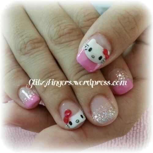 Hand Drawn + Hand Crafted + Hand Painted + Manicure + Nail Gallery + Nail Fashion + Nail Style + Sanrio + Hello Kitty Nails + Kitty Nails + Cute Nails + Nail Design + Style Nails + Sg Nails +  Nails In Trend + Trendy Nails + Heart Nails + Sparkly Nails + Bling Design