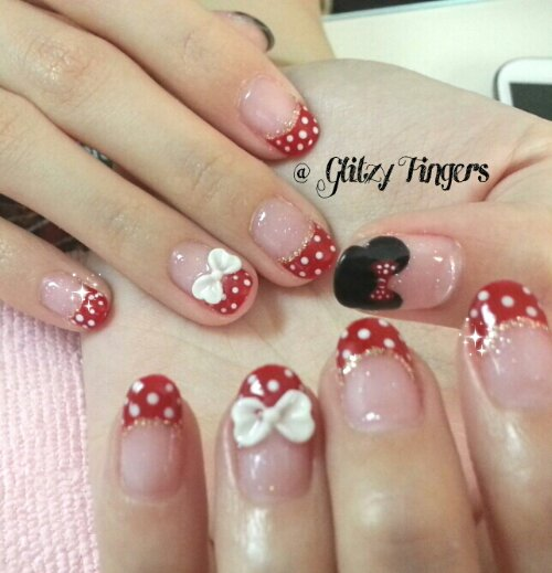 Gelish Art + Mini Mouse Art + Disney Nails + Manicure + Nail Style + Nail In Trend + Sg Nails + Lovable Nails + Cute Nails + Gelish Nails + Ribbon Nails + Polkadot Nails + Mini Mouse Design + Lovable Nails + Nail Gallery + Gelish Gallery + Hand drawn