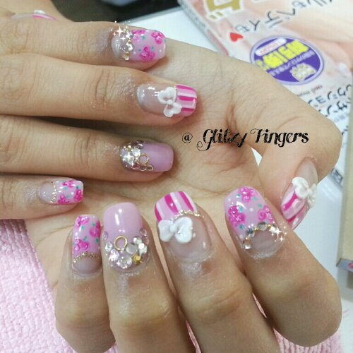 Manicure + Pretty Nails + Lovely Nails + Floral Nails + Nail Design + Nail Patterns + Girly Nails + Floral Pattern + Ribbon + Stripe Nails + Pinkish Nails + Pinky Nails + Sweet Nails + Nail Gallery + Cute Nails  + Gelish Nails + Gelish Design